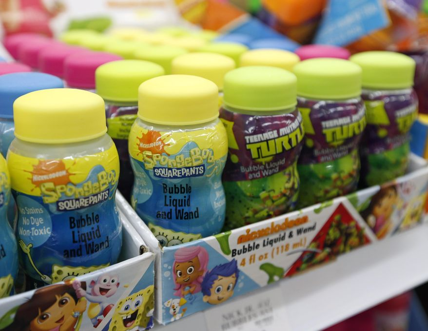 Themed bubbles are on display at a Toys R Us store on Monday, Sept. 22, 2014, in Colonie, N.Y. (AP Photo/Mike Groll) ** FILE **