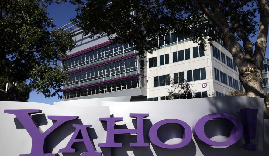 FILE - This Wednesday, Oct. 17, 2012 file photo shows a sign in front of Yahoo headquarters in Sunnyvale, Calif. Yahoo's stock fell Monday, Sept. 22, 2014, as investors grappled with uncertainty about the Internet company's future in the wake of last week's record-setting Wall Street debut by the Chinese e-commerce giant Alibaba. (AP Photo/Marcio Jose Sanchez, File)