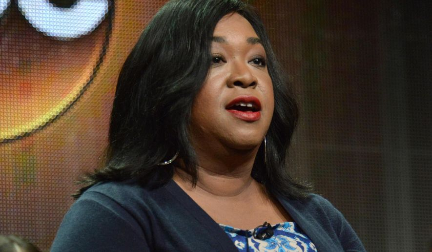 "FILE - In this July 15, 2014 photo, showrunner Shonda Rhimes speaks during the ""How to Get Away with Murder"" panel at the Disney/ABC Television Group 2014 Summer TCA at the Beverly Hilton Hotel in Beverly Hills, Calif. ABC's entire Thursday prime-time schedule is composed of shows run by Rhimes. (Photo by Richard Shotwell/Invision/AP, File)"