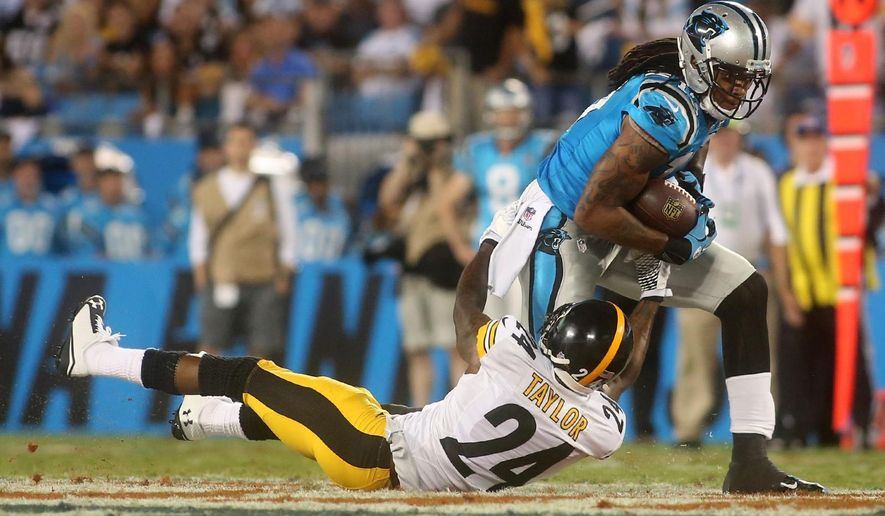 Carolina Panther's Kelvin Benjamin (13) is brought down by the Steelers' Ike Taylor during an NFL football game Sunday, Sept. 21, 2014, in Charlotte, N.C. (AP Photo/The Star, Ben Earp)