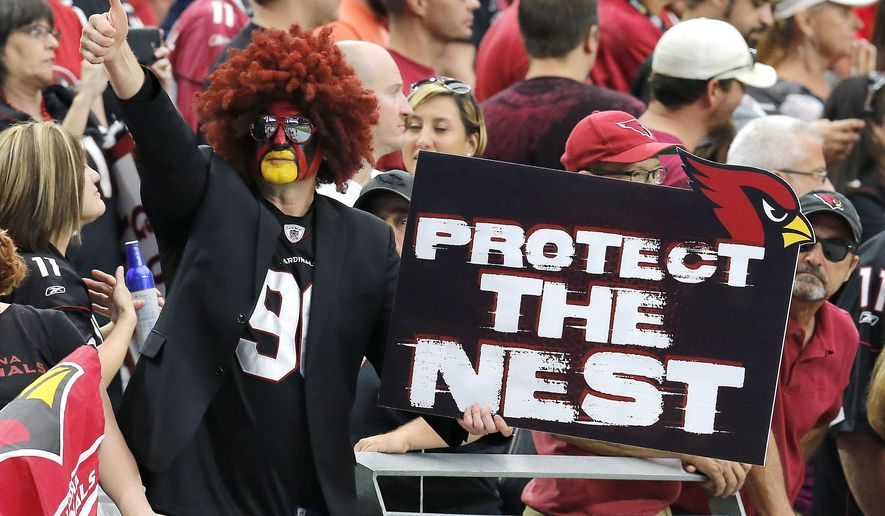 Arizona Cardinals fans cheer during the second half of the Cardinals' NFL football game against the San Francisco 49ers, Sunday, Sept. 21, 2014, in Glendale, Ariz. The Cardinals won 23-14. (AP Photo/Rick Scuteri)