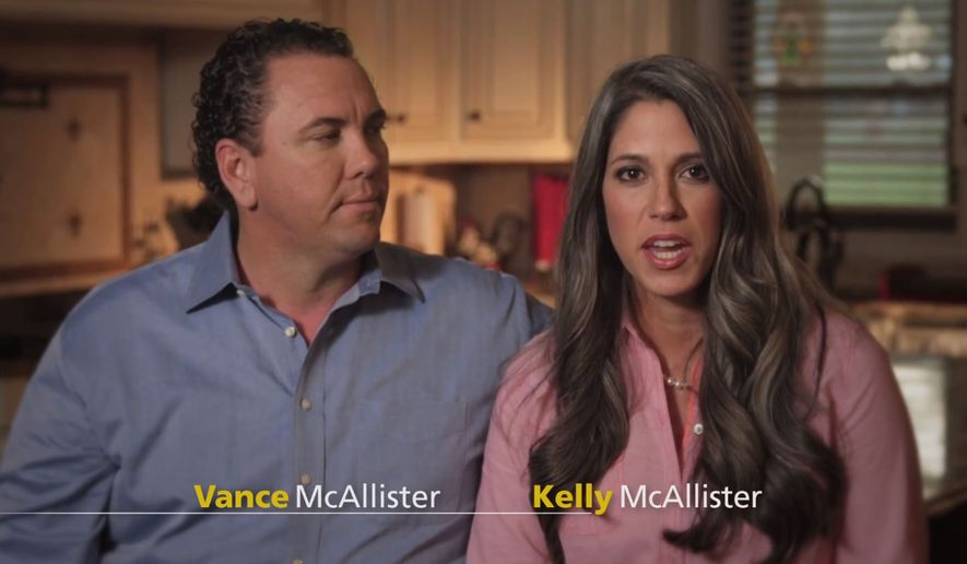 "In this screen grab from a commercial posted on youtube.com, Rep. Vance McCallister, R -La., appears with his wife Kelly McCallister. The Louisiana congressman whose re-election is threatened by a cheating scandal is putting his marriage front and center in the campaign. McAllister released his first TV ad in the 5th District race Monday,  Sept. 22, 2014, prominently featuring his wife. In the 30-second spot, McAllister describes his ""wonderful, Christian wife,"" while his wife describes feeling blessed because her husband ""owns up to his mistakes."" (AP Photo)"