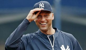 FILE - In this April 7, 2014, file photo, New York Yankees shortstop Derek Jeter (2) adjusts his cap before the home opener baseball game against the Baltimore Orioles at Yankee Stadium in New York. Jeter has had as close to perfect a career as a major leaguer can have. Still, five years from now, don't expect the New York Yankees' captain to be a unanimous selection to baseball's Hall of Fame.  (AP Photo/Kathy Willens, File)