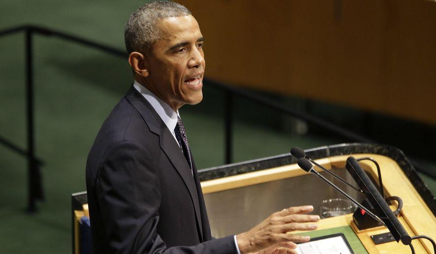 U.S. President Barack Obama addresses the Climate Summit at United Nations headquarters, Tuesday, Sept. 23, 2014. (AP Photo/Seth Wenig)