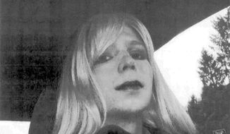In this undated file photo provided by the U.S. Army, Pfc. Chelsea Manning poses for a photo wearing a wig and lipstick. Manning is suing the Defense Department for hormone therapy. Lawyers for the Army private formerly known as Bradley Manning and the American Civil Liberties Union filed the lawsuit Tuesday, Sept. 23, 2014, in Washington. (AP Photo/U.S. Army, File)