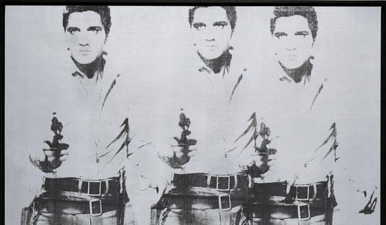 """This undated photo provided by Christie's shows Andy Warhol's """"Triple Elvis (Ferus Type),"""" which is going on the auction block at Christie's in New York this November. The Elvis, executed in ink and silver paint in 1963, depicts the rock 'n' roll heartthrob as a cowboy, armed and shooting from the hip. (AP Photo/Christie's)"""