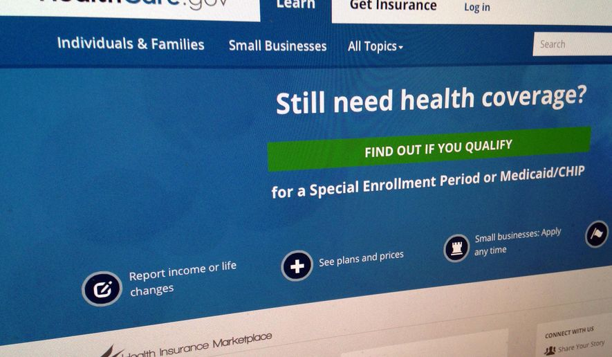 This Sept. 15, 2014, photo shows part of the HealthCare,gov Website in Washington. (AP Photo/Jon Elswick, File)