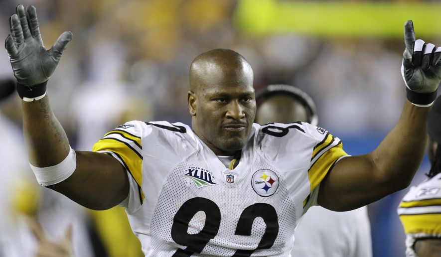 FILE - In this Feb. 1, 2009, file photo, Pittsburgh Steelers linebacker James Harrison celebrates after returning an interception 100 yards for a touchdown during the second quarter of the NFL Super Bowl XLIII football game against the Arizona Cardinals in Tampa, Fla. The former Steelers linebacker is officially retiring on Friday, Sept. 5, 2014, ending an 11-year career that included five Pro Bowls, two Super Bowl rings and numerous run ins with the NFL front office. (AP Photo/Chris O'Meara, File) **FILE**