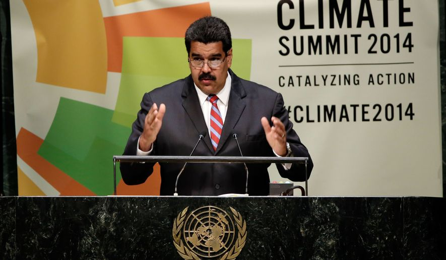 President Nicolas Maduro, of Venezuela, addresses the Climate Summit, at United Nations headquarters,  Tuesday, Sept. 23, 2014. (AP Photo/Richard Drew)