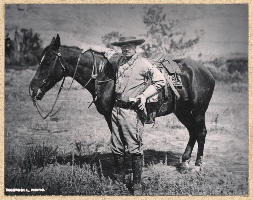 TR with horse, in the Dakotas