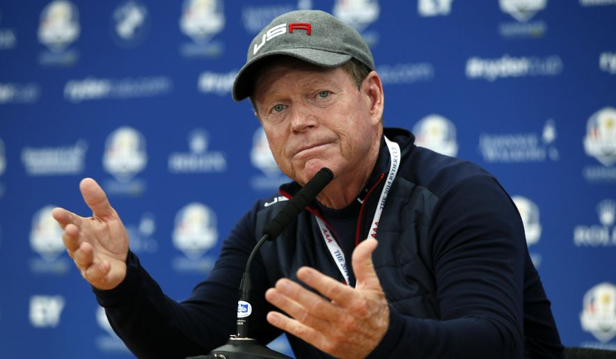 US team captain Tom Watson gestures as he speaks during a press conference ahead of the Ryder Cup golf tournament at Gleneagles, Scotland, Wednesday, Sept. 24, 2014. (AP Photo/Alastair Grant)