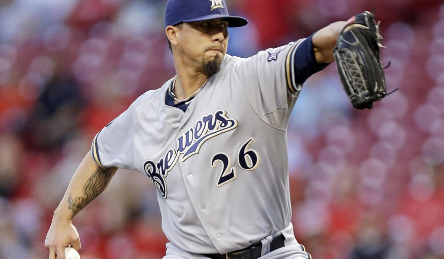 Milwaukee Brewers starting pitcher Kyle Lohse throws against the Cincinnati Reds in the first inning of a baseball game, Wednesday, Sept. 24, 2014, in Cincinnati. (AP Photo/Al Behrman)