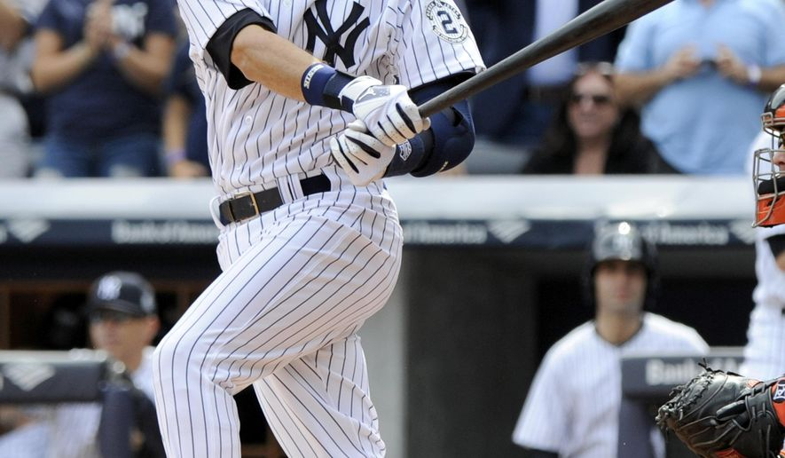 New York Yankees' Derek Jeter grounds out during the first inning of a baseball game against the Baltimore Orioles Wednesday, Sept. 24, 2014, at Yankee Stadium in New York. (AP Photo/Bill Kostroun)