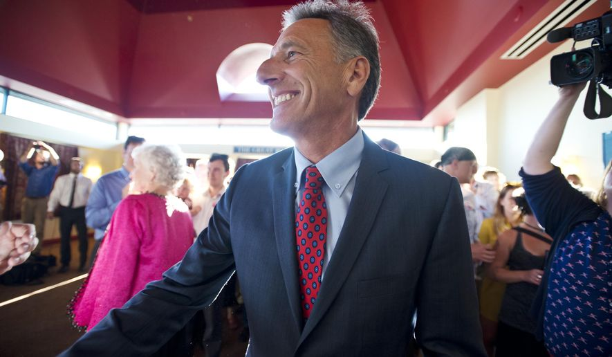 FILE - Gov. Peter Shumlin kicks off his re-election campaign in Burlington, Vt., in this Tuesday, Sept. 9, 2014 file photo. Shumlin called again Tuesday Sept. 23, 2014 for more time to complete changes he began putting into place when he took office almost four years ago, citing the state's move to a single payer health care system and the creation of more jobs by promoting clean energy. (AP Photo/The Burlington Free Press, Glenn Russell, File)