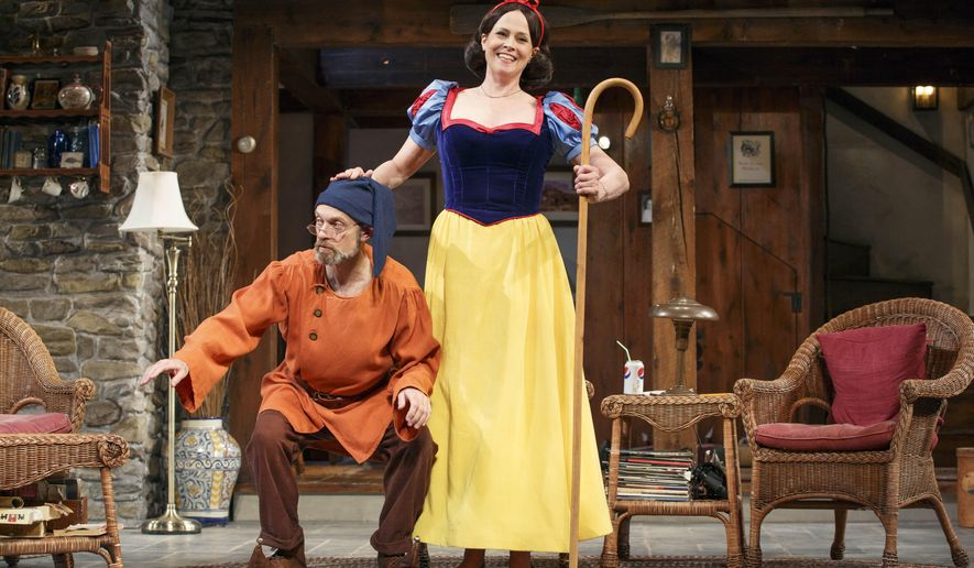 "This publicity photo provided by O & M Co. shows David Hyde Pierce, left, and Sigourney Weaver in ""Vanya and Sonia and Masha and Spike."" Christopher Durang's ""Vanya and Sonia and Masha and Spike"" tops the list of the most produced plays nationwide during the 2014-15 season, according to the theater industry's largest trade group. American Theatre magazine, published by Theatre Communications Group, announced the list in its October issue. (AP Photo/O and M Co., Carol Rosegg)"