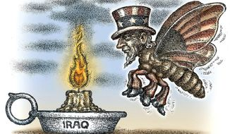 Illustration on the dangers of renewed involvement in Iraq by Kevin Kreneck/Tribune Content Agency