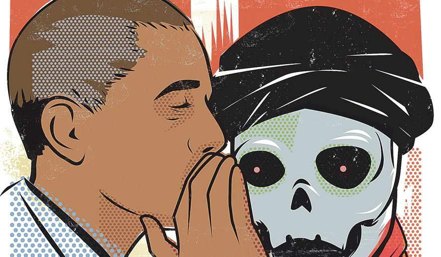 Illustration on Obama's telegraphing strategy in the war against ISIS by Linas Garsys/The Washington Times