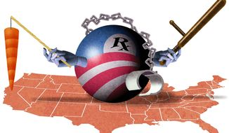 Illustration on the inherently punitive features of Obamacare by Alexander Hunter/The Washington Times