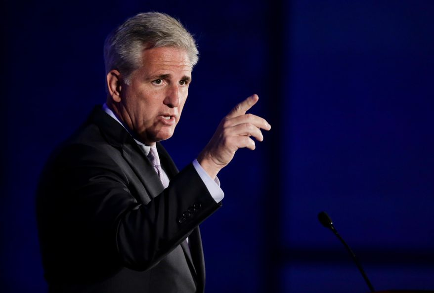 House Majority Leader Kevin McCarthy speaks at the California GOP convention in Los Angeles on Sept. 20, 2014. (Associated Press) **FILE**