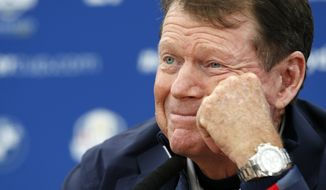 US team captain Tom Watson attends a press conference ahead of the Ryder Cup golf tournament at Gleneagles, Scotland, Tuesday, Sept. 23, 2014. (AP Photo/Alastair Grant)