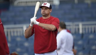 Washington Nationals' Ryan Zimmerman looks on during batting practice before a baseball game against the New York Mets, Tuesday, Sept. 23, 2014, in Washington. (AP Photo/Nick Wass)