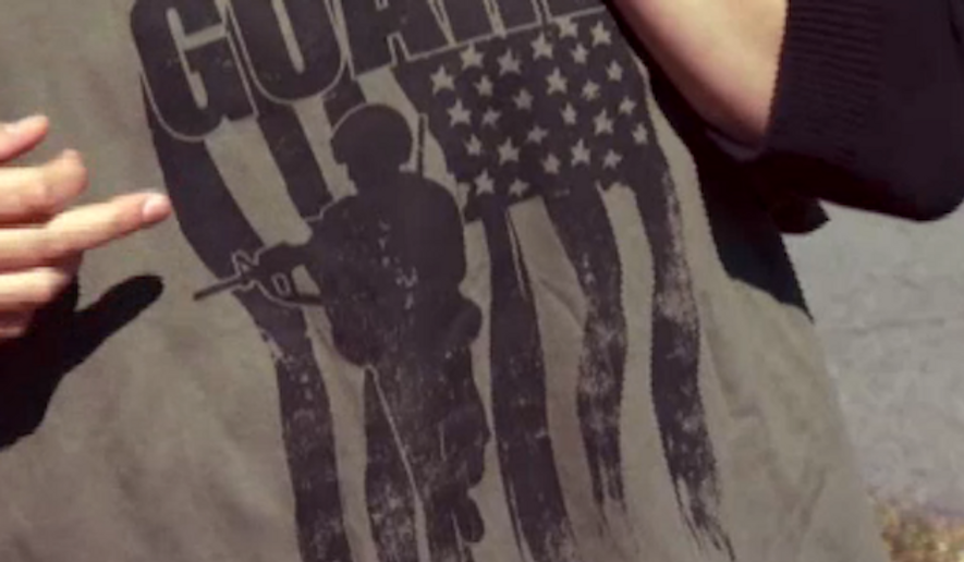 A National Guard recruiter was barred from distributing promotional t-shirts at a New York high school after teachers realized the shirts featured the silhouette of a soldier holding a rifle. (CBS 6 Albany)