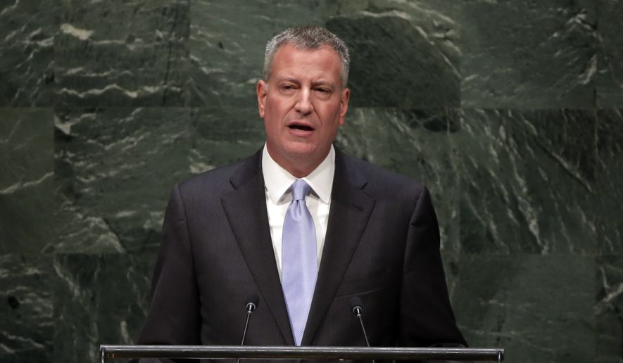 New York Mayor Bill de Blasio addresses the Climate Change Summit at U.N. headquarters. (AP Photo/Richard Drew)
