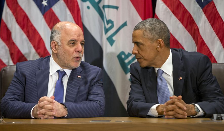 President Barack Obama meets with Iraqi Prime Minister Haider al-Abadi at the United Nations headquarters, Wednesday, Sept. 24, 2014. (AP Photo/Pablo Martinez Monsivais)