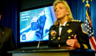 Washington, D.C. MPD Chief Cathy Lanier announces that the police department is testing 5 different kinds of body-worn cameras as part of a pilot program, during a press conference at the Wilson Building, Washington, D.C., Wednesday, September 24, 2014. (Andrew Harnik/The Washington Times)