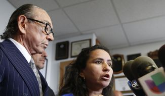 Sandra Amezquita, 43, who is 5 months pregnant, speaks at a press conference at the offices of her attorney Sanford A. Rubenstein, left, Wednesday, Sept. 24, 2014, in New York. Amezquita, who was caught on amateur video showing a New York police officer taking her to the ground on her stomach as she tried to intervene in the arrest of her 17-year-old son early Saturday morning, Sept. 20, in Brooklyn, and a woman who says she tried to come to Amezquita's aid, have requested a criminal investigation regarding the officer's actions.  (AP Photo/Kathy Willens) ** FILE **