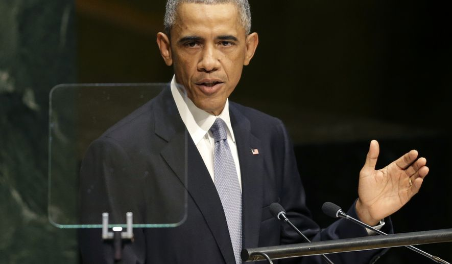 United States President Barack Obama, speaks during the 69th session of the United Nations General Assembly at U.N. headquarters, Wednesday, Sept. 24, 2014. (AP Photo/Seth Wenig)