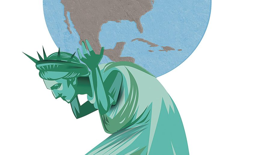 Illustration on America's role in global stability by Linas Garsys/The Washington Times