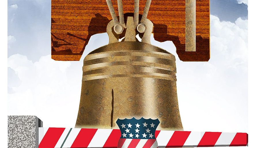 Illustration on security preserving liberty in America by Alexander Hunter/The Washington Times