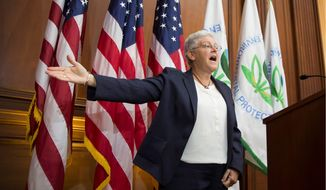 """Climate action is not just a defensive play, it advances the ball. We can turn our challenge into an opportunity to modernize our power sector and build a low-carbon economy that will fuel growth for decades to come,"" Environmental Protection Agency Administrator Gina McCarthy said Thursday in a speech at Resources for the Future, a nonprofit research organization. (Associated Press)"