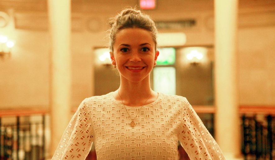 """In this Sept. 18, 2014 photo, New York City Ballet principal dancer Megan Fairchild poses inside the Lyric Theatre in New York. Fairchild is making her Broadway debut on a revival of  """"On the Town."""" (AP Photo/Mark Kennedy)"""