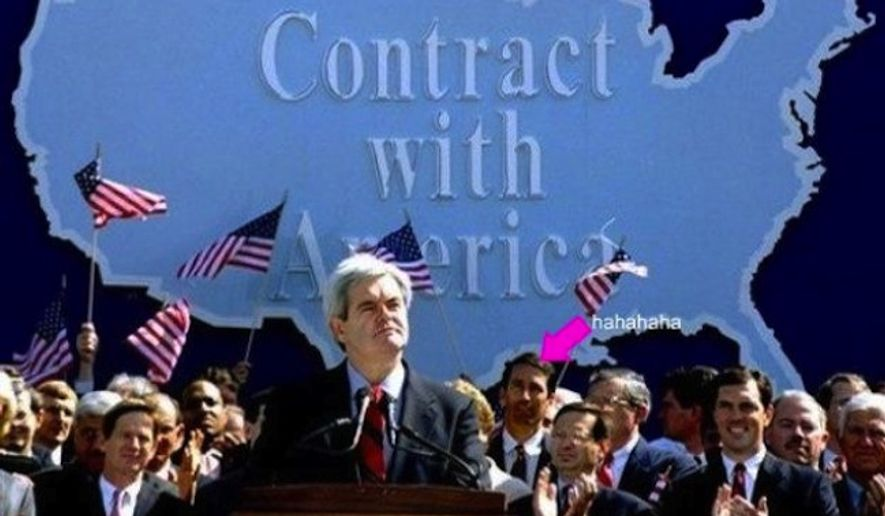 """The scene was Sept. 27, 1994 - when Newt Gingrich released the """"Contract with America"""" that defined Republican values and ideas, and invigorated the GOP's relationship with voters. (Associated Press)"""
