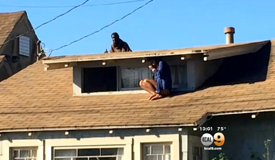 Melora Rivera escaped through her second-story window and hid half-naked on the roof after a mentally ill homeless man broke into her home Wednesday morning. (KCAL 9)