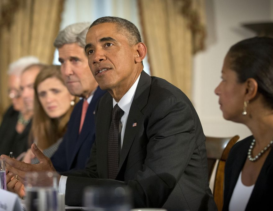President Barack Obama speaks during a meeting with Ethiopian President Hailemariam Desalegn to discuss the Ebola epidemic, Thursday, Sept. 25, 2014 in New York. Seated with Obama are from left are, Deputy National Security Advisor Ben Rhodes, US Ambassador to the UN Samantha Power, Secretary of State John Kerry, and National Security Adviser Susan Rice. (AP Photo/Pablo Martinez Monsivais)