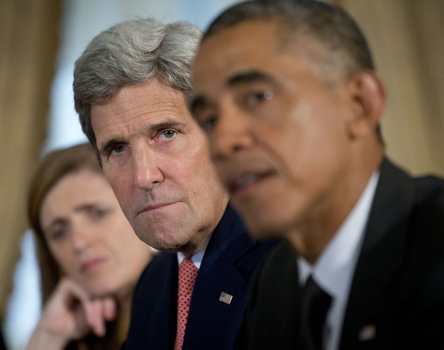 Secretary of State John Kerry, center, and US Ambassador to the UN Samantha Power, left, listen as President Barack Obama speaks during a bilateral meeting to discuss the Ebola epidemic with Ethiopian President Hailemariam Desalegn, Thursday, Sept. 25, 2014 in New York. (AP Photo/Pablo Martinez Monsivais) **FILE**