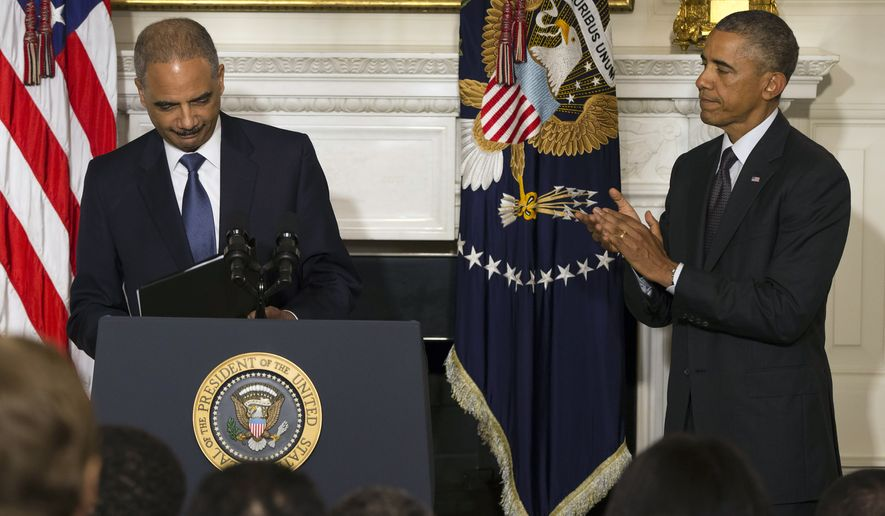 President Barack Obama, right, applauds Attorney General Eric Holder, after he spoke in the State Dining Room of the White House to announce his resignation, on Thursday, Sept. 25, 2014, in Washington. Holder, who served as the public face of the Obama administration's legal fight against terrorism and weighed in on issues of racial fairness, is resigning after six years on the job. He is the first black U.S.  attorney general. (AP Photo/Evan Vucci)