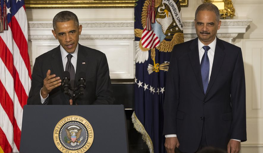 President Barack Obama, accompanied by Attorney General Eric Holder, speaks in the State Dining Room of the White House in Washington, Thursday, Sept. 25, 2014, to announce Holder is resigning. Holder, who served as the public face of the Obama administration's legal fight against terrorism and weighed in on issues of racial fairness, is resigning after six years on the job. He is the first black US attorney general. (AP Photo/Evan Vucci)