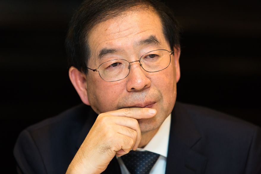 Seoul Mayor Park Won-soon is said to be eyeing a bid for South Korea's presidency in 2022. (Keith Lane/Special to the Washington Times)