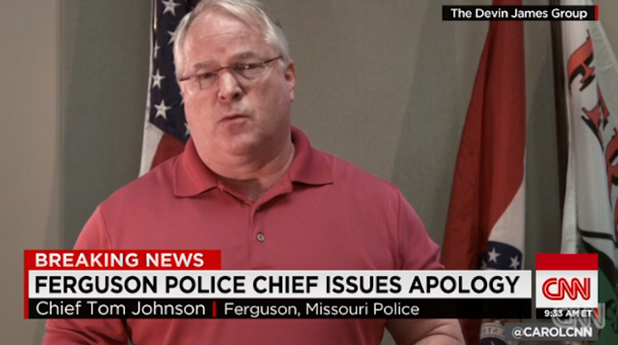 Ferguson, Missouri, Police Chief Thomas Jackson issued a video Thursday apologizing to the parents of Michael Brown and the black community for any mistrust they may feel toward the police department. (CNN)