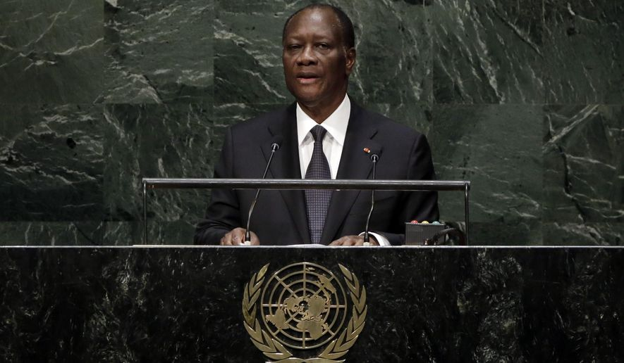 President Alassane Ouattara, of Ivory Coast, addresses the 69th session of the United Nations General Assembly, at U.N. headquarters, Friday, Sept. 26, 2014. (AP Photo/Richard Drew)