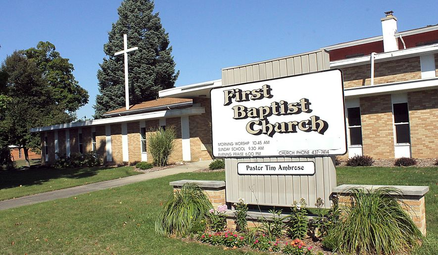 In a photo from Sept. 18, 2014, The Hillsdale First Baptist Church in Hillsdale, Mich., is shown. The church will celebrate its 145th Anniversary Sept. 28. (AP Photo/Hillsdale Daily News, Andy Barrand)