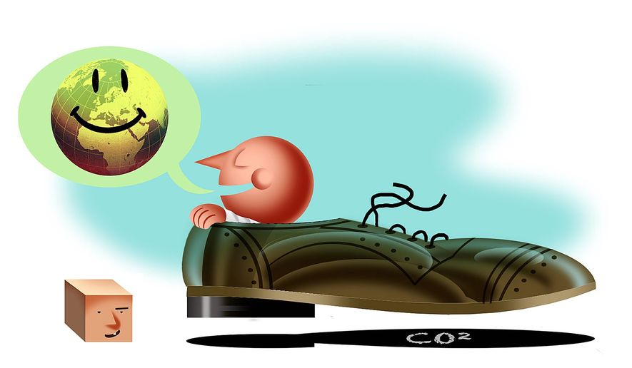 Illustration on the hypocracy of wealthy environmentalists by Alexander Hunter/The Washington Times