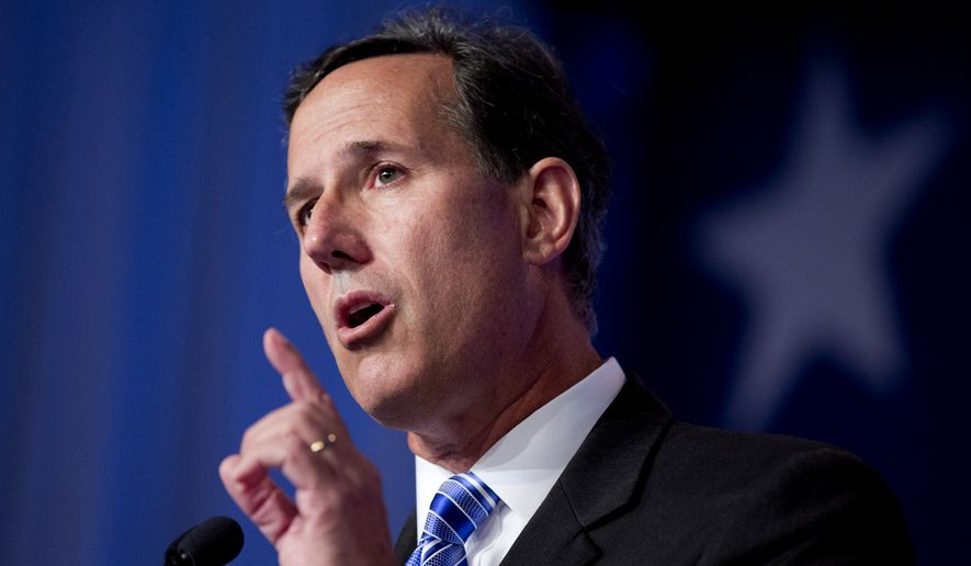 Former Pennsylvania Sen. Rick Santorum speaks at the 2014 Values Voter Summit in Washington, Friday, Sept. 26, 2014. (AP Photo/Manuel Balce Ceneta) ** FILE **