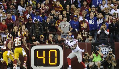 New York Giants tight end Daniel Fells (85) is wide open for his third quarter touchdown reception at FedExField, Landover, Md., Sept. 25, 2014. (Preston Keres/Special for The Washington Times)