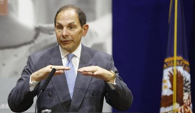 U.S. Dept. of Veterans Affairs Secretary Bob McDonald speaks to the media on Saturday, Sept. 27, 2014, in Cincinnati. (AP Photo/The Cincinnati Enquirer, Carrie Cochran) ** FILE **