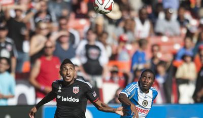 D.C. United's Sean Franklin in action in the first period against the Philadelphia Union on Saturday, Sept. 27, 2014 at RFK Stadium in Washington, D.C. Luis Silva's goal in the 10th minute was enough to lift United to a 1-0 win over the Philadelphia Union at RFK Stadium. (Pete Marovich for the Washington Times)